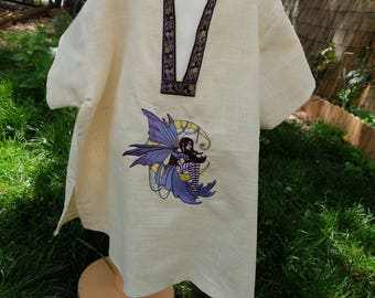 Shirt or tunic child medieval fantasy embroidered fairy or Elf with Moon
