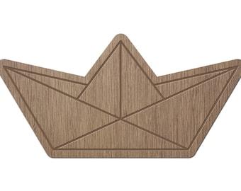BOAT - ORIGAMI - laser cut wood - magnet