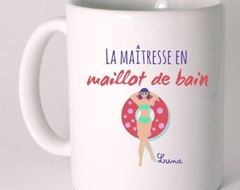 "Personalized ceramic MUG humor ""Lady in bathing suit"""