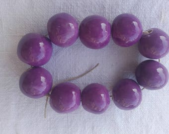 Purple ceramic beads