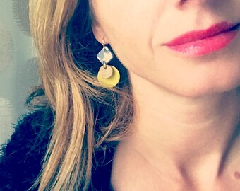 Yellow leather earrings / yellow, green, gold patterns / lightweight earrings with hypoallergenic and anti oxidant clip