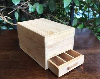 Antique Japanese Stash Box~Plywood Mini Storage Box~Cannabis Organizer~Sewing Kit Box