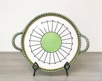 Mid Century Modern Ceramic Tray w/ Basket Handles