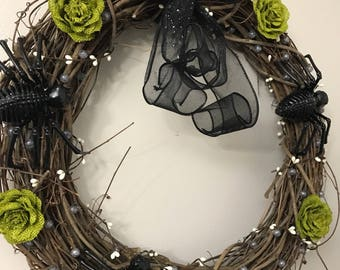 Spider Halloween Wreath - Halloween Decor - Green and Black Spider Halloween Wreath - Round Halloween Wreath