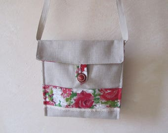 Shoulder bag in canvas and cotton