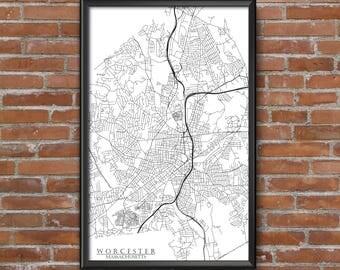 Worcester, Massachusetts Map Art