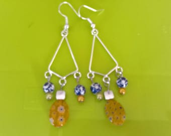 Triangle with yellow beads earrings