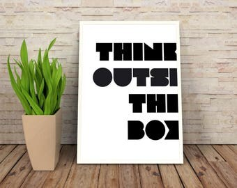 Motivational Print | Think Outside The Box | Typography Wall Art | Inspirational Prints | Motivational Quote | Inspirational Quote