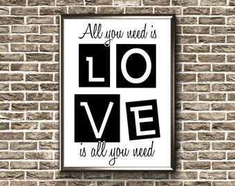 All You Need Is Love   Printable   Love Poster   Couples Wall Art   Couples Print   Love Wall Art   Couples Bedroom Art   Couples Printable