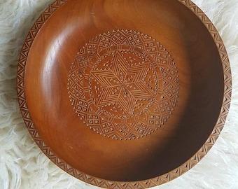 Wood plate wood Bowl Vintage Bohemian Aztec wood fruit bowl