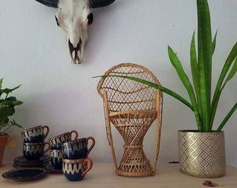 Mini wicker chairs, plant stands, Peacock fan chairs, miniature Peacock Chair, chair doll, 70 s, rattan, Bohoemian