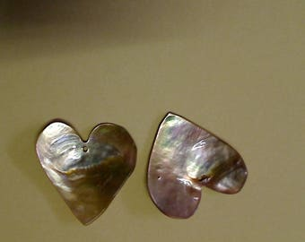 Mother of Pearl beige sparkly heart