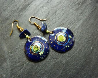 Earrings copper enameled dark blue and gold