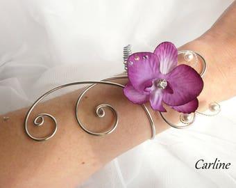 Cole - Aluminum Orchid purple white Swarovski Crystal Bracelet