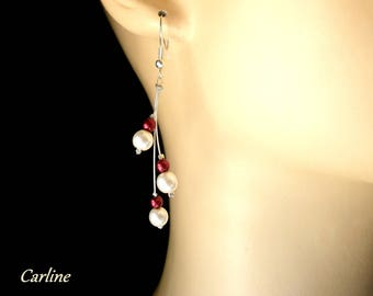 Cascadia - Red and white pearls earrings