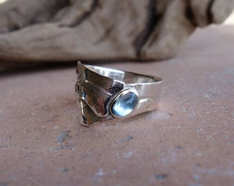 Silver ring and an Aqua - marine.