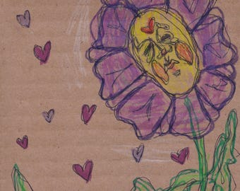 Squished Flower Original Drawing