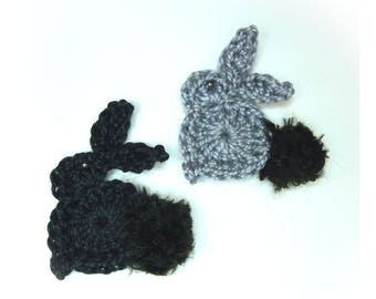 set of 2 applied rabbits crochet, black and gray