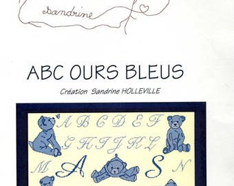 cross stitch kit abcdr counted small works of sandrine: blue bear abc