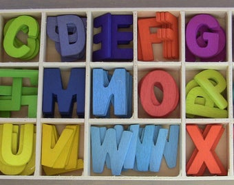 Colorful wood height 2 cm thickness 2 mm 4 PCs of each letters complete alphabet letter