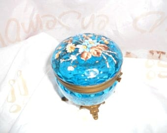 Antique Victorian or Bohemian glass bonbonniere hand very fine painted 19th century