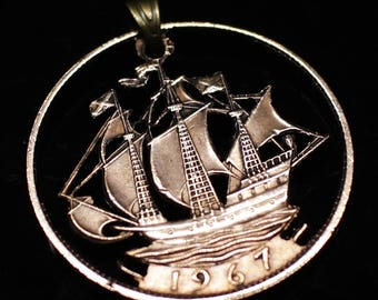 Cut Coin Necklace British half penny Sailing ship Pendant  & Necklace. Hand Cut.