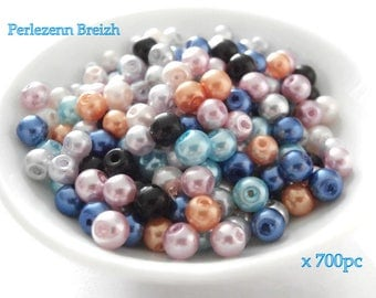 Assortment of 700 colors varied multicolor 4mm Pearl glass beads