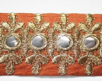 Embroidered Ribbon trim Orange gold mirrored 3.7 centimeters x 1 meter