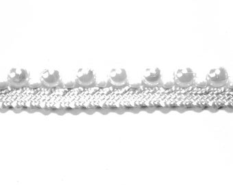 Braid Indian synthetic Pearl White 1 cm x 1 m