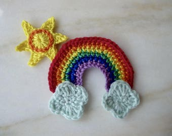 Rainbow and clouds and Sun handmade in crochet cotton (4pcs)