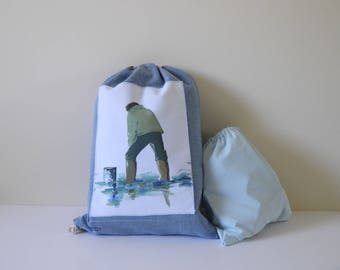 Pastel blue cotton canvas thick blue pastel faded inside waterproof backpack