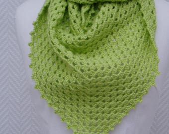 Shawl, scarf, lime green wool crocheted by hand Lesaiguillesdemaman