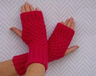 """Fingerless gloves, fingerless gloves knitted hand """"Hibiscus"""""""