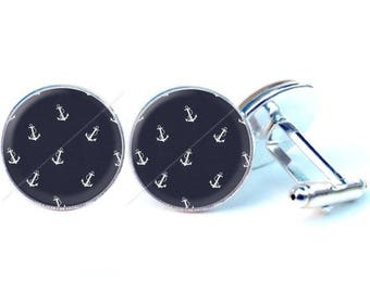Glass cabochon cuff links - anchor