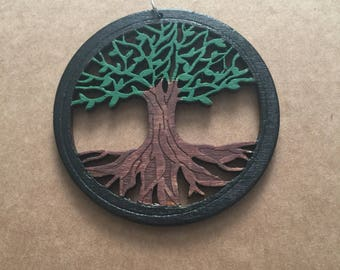 Hand painted Tree of life pendant Free Shipping