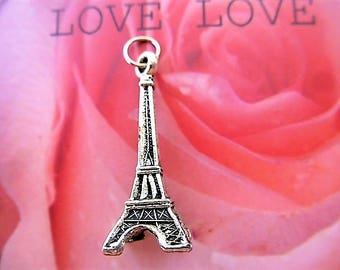 Tibetan silver 34 mm Eiffel Tower pendant with ring