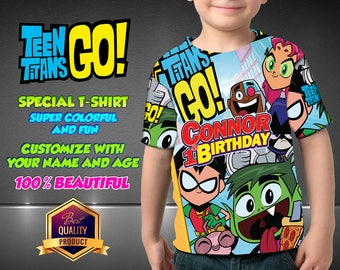 Teen Titans Go Birthday Shirt, Teen Titans Custom Shirt, Personalized Shirt, family shirts,  Birthday t-shirts Teen Titans Go Disney Family