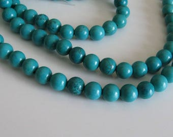 1 lot of 10 turquoise round beads 8 mm