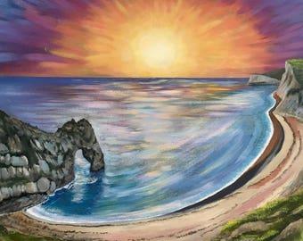 Large original seascape painting canvas. Durdle Door Dorset