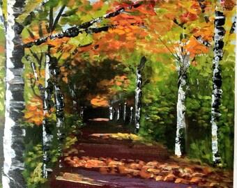 Original framed impressionist acrylic painting. Wimborne Dorset 'Late Summer Stroll'