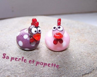 Couple - chicks pink and purple polka dots - fi glass