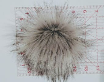 "Faux Fur Pom Pom, 6"" Large Pom, Fur Ball, Hat Pom, Silver Grey Black Tip Faux Pom, Faux Bobble, Knit Hat, Crochet Hat"
