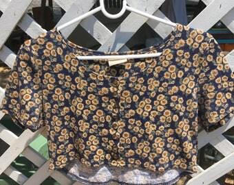 90's floral crop top