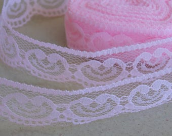 Pink lovely lace hearts 1 meter
