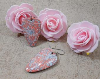 Coral pink triangle earrings, earrings dangle flowers, geometric earrings, gift idea for woman