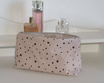 metalized fleece make-up toiletry bag, zippered lined pouch bronze