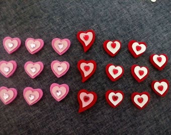 set of 20 hearts with Rhinestones pink and red felt