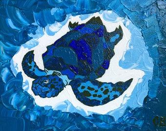 Ocean Blue Sea Turtle 8 x 10 Original Acrylic Painting