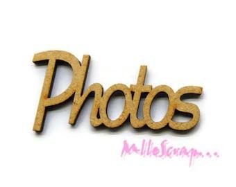 "Word ""Photos"" wood decor scrapbooking cardmaking X 1 (ref.710). *."