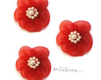 Red set of 5 flowers embellishment scrapbooking cardmaking fabric *.